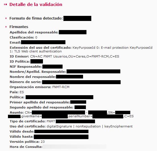 Información del certificado digital con el que fue realizada la firma en el archivo .csig que fue subido a la página de VALIDe.