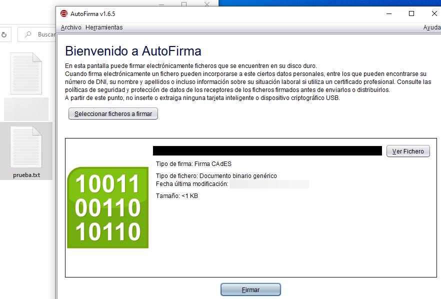 """Archivo """"prueba.txt"""", el cual fue arrastrado y soltado en la versión de ordenador de Autofirma."""