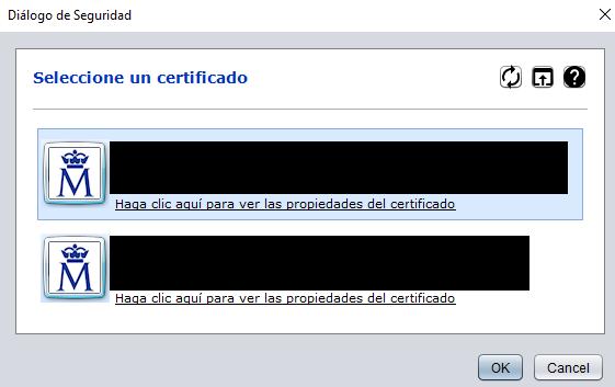 """Ventana """"Seleccione un certificado"""" de Autofirma, la cual te muestra la lista de certificados digitales que tengas instalados en este programa."""
