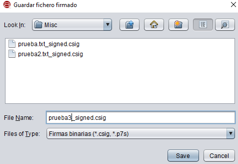 Ventana para seleccionar la carpeta en donde quieras guardar el fichero que acabas de firmar con Autofirma.
