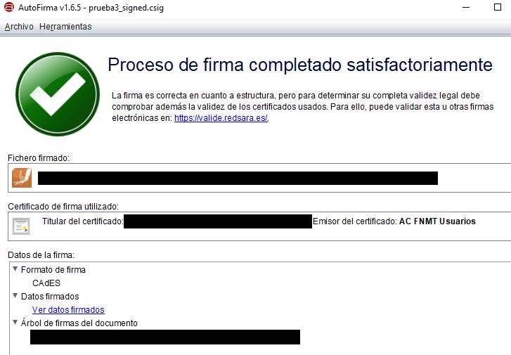 Ventana de Autofirma que confirma que tu fichero ha sido firmado digitalmente.
