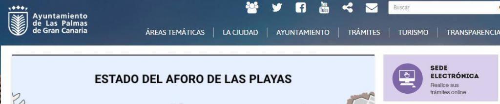 Sitio web del ayuntamiento de Las Palmas de Gran Canaria, mostrando el enlace a la sede electrónica de este ayuntamiento.