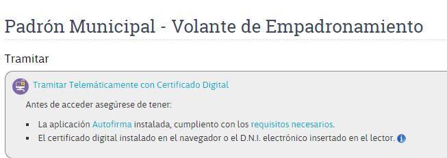 """Enlace """"Tramitar Telemáticamente con Certificado Digital"""" de la página para tramitar un volante de empadronamiento del ayuntamiento de Las Palmas de Gran Canaria."""