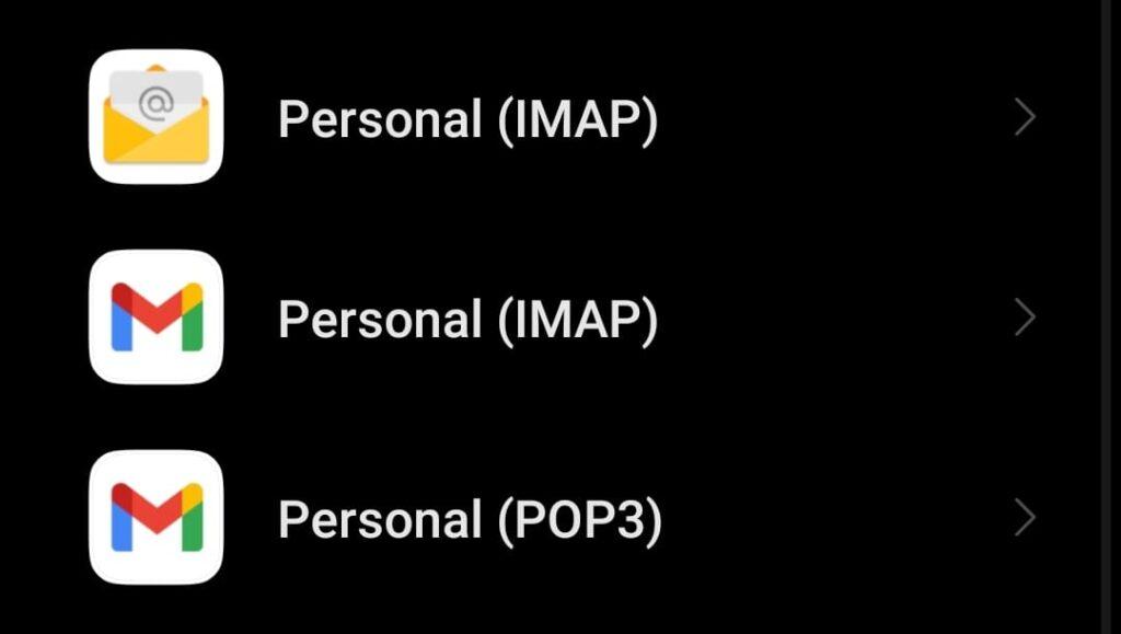 Añadir cuenta IMAP en Android