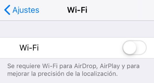 iPhone con el Wifi desactivado para que solo use los datos de su red móvil.