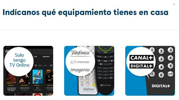 Ventana de la página web de Movistar+ para seleccionar tu tipo de equipamiento de tu plan de fusión de Movistar.