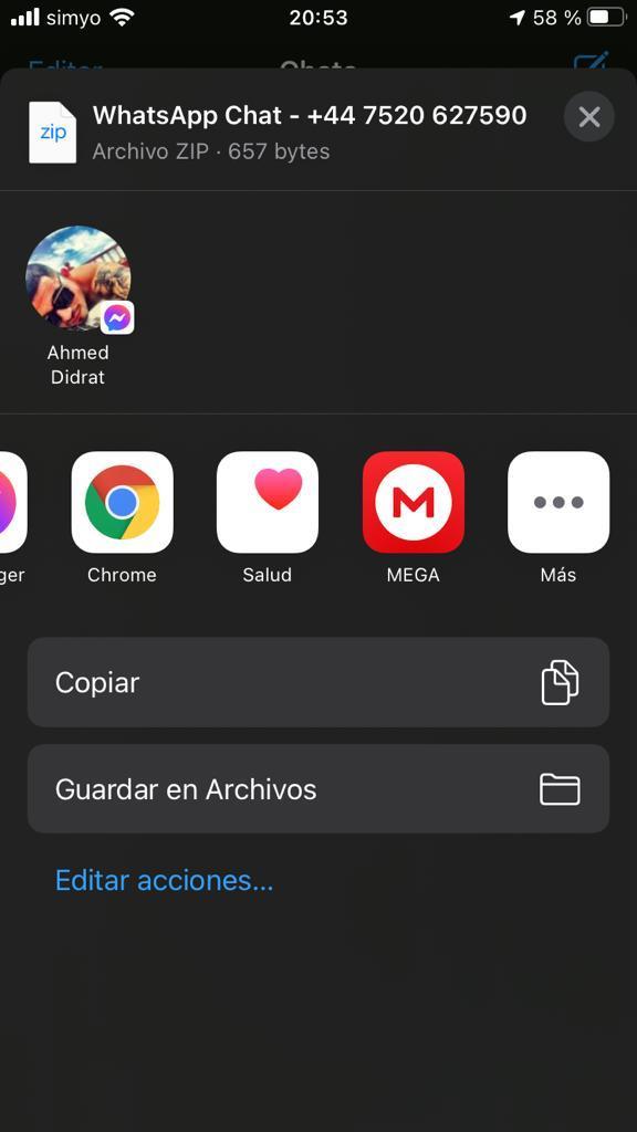 Modal de WhatsApp para seleccionar a dónde quieres enviar tu chat, el cual muestra la app de Telegram como una de las opciones.