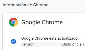 Ventana de Google Chrome que confirma que este navegador web está actualizado.