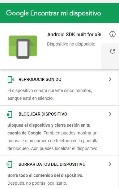 """Opción """"Bloquear dispositivo"""" de la página web del Android Device Manager."""