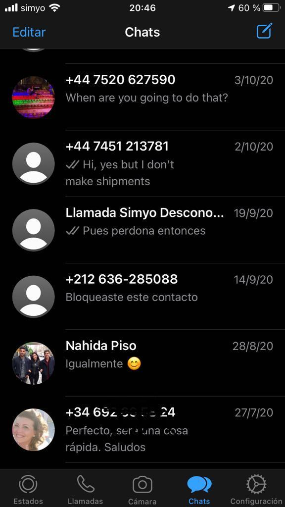 Lista de chats de un usuario de WhatsApp.