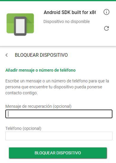 """Botón """"Bloquear dispositivo"""" y casillas para insertar un teléfono y un mensaje opcional en la página web del Android Device Manager."""