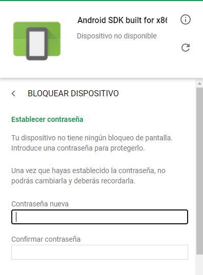Casillas para insertar una contraseña temporal para poder desbloquear tu móvil con Android.