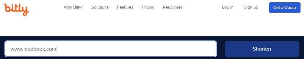 """Sitio web de Bitly, en donde se ha escrito la dirección de Facebook en la casilla en donde debes insertar la dirección a acortar. Se puede observar el botón """"Shorten""""."""