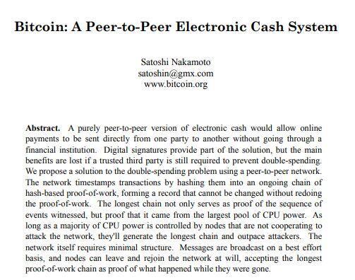 Portada del artículo académico del Bitcoin de Satoshi Nakamoto, el cual fue la primera aplicación práctica del blockchain.