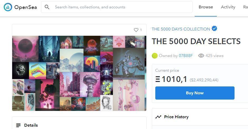 """Página web de OpenSea mostrando la obra de arte digital """"The 5000 Day Selects"""", en donde se muestra que la obra tiene una NFT, y se puede verificar quién es el dueño de esa NFT. La NFT actúa como un título de propiedad."""