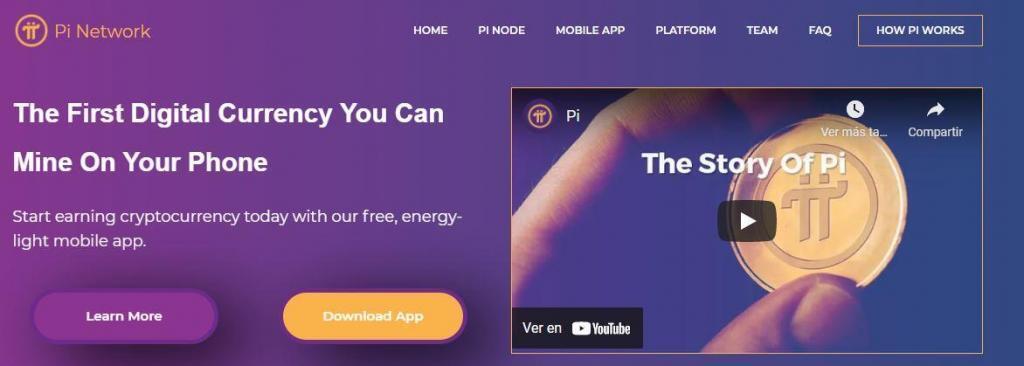 Página de inicio del sitio web de la criptomoneda de Pi.