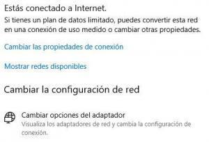 """Opción """"Cambiar opciones del adaptador"""" de la ventana de configuración de redes de Windows 10."""