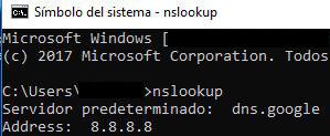 """Símbolo del sistema de un PC en donde se ha ejecutado el comando """"nslookup"""". Se observa que el servidor DNS de nuestro PC es 8.8.8.8."""