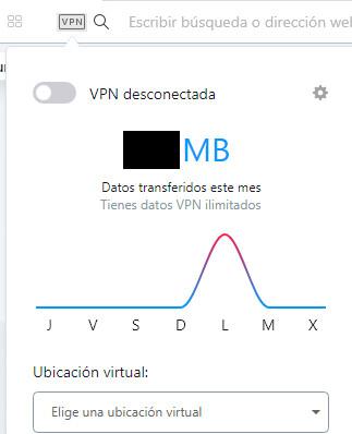 """Navegador web de Opera, el cual muestra el botón """"VPN"""" y el botón que aparece al lado del apartado """"VPN desconectada""""."""