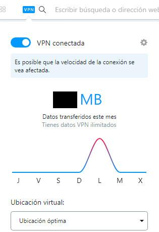 """Navegador de Opera con su VPN gratuita activada, el cual muestra el menú """"Ubicación virtual"""" con la opción """"Ubicación óptima"""" seleccionada."""