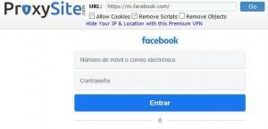 Navegador mostrando el sitio web de Facebook y un menú de navegación de ProxySite.