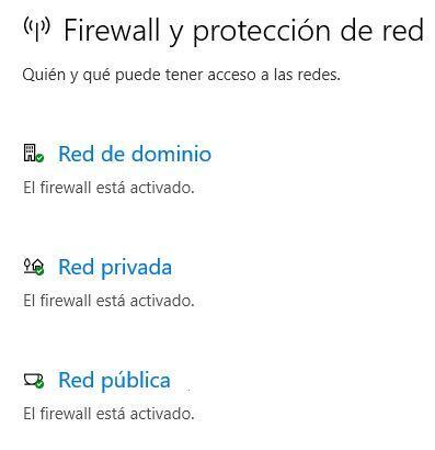 Ventana de configuración del cortafuegos de Windows 10.