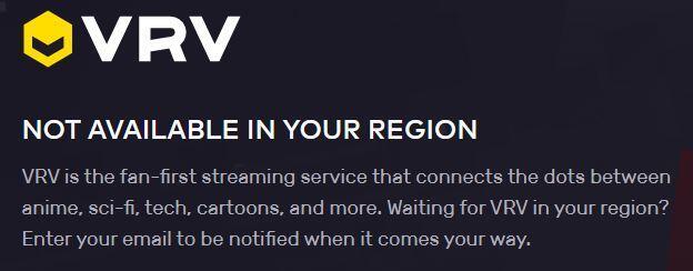 Mensaje de error del sitio web de VRV, el cual nos dice que su contenido no está disponible en nuestra región.