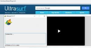 Sitio web con el logo de Ultrasurf, el cual te aparece por defecto al ejecutar Ultrasurf, y la ventana de la versión de escritorio de Ultrasurf.