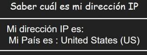 Página web para verificar tu ubicación y tu dirección IP actual. En este caso, nos está mostrando que nuestra ubicación está en los Estados Unidos, aunque en realidad no vivimos en ese país.