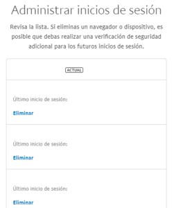 """Ventana """"Administrar inicios de sesión"""", la cual muestra una lista de dispositivos y navegadores web en los que un usuario ha iniciado sesión a su cuenta de PayPal."""