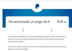 Email de PayPal en donde se muestra que un usuario ha enviado un pago por un producto o servicio usando PayPal.