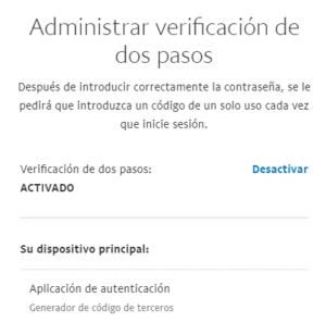 """Ventana en donde aparecerían las opciones """"Recibir un código mediante un mensaje de texto"""" y """"Usar una aplicación de autenticación"""" si la autenticación en dos pasos estuviera desactivada para este usuario."""