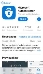 App Microsoft Authenticator en la App Store de un iPhone.