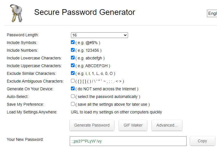 Sitio web de Secure Password Generator, en donde se muestra una contraseña creada con este generador de contraseñas.