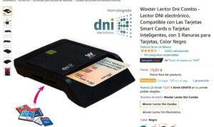 Página de Amazon mostrando un lector de DNI electrónico en venta.