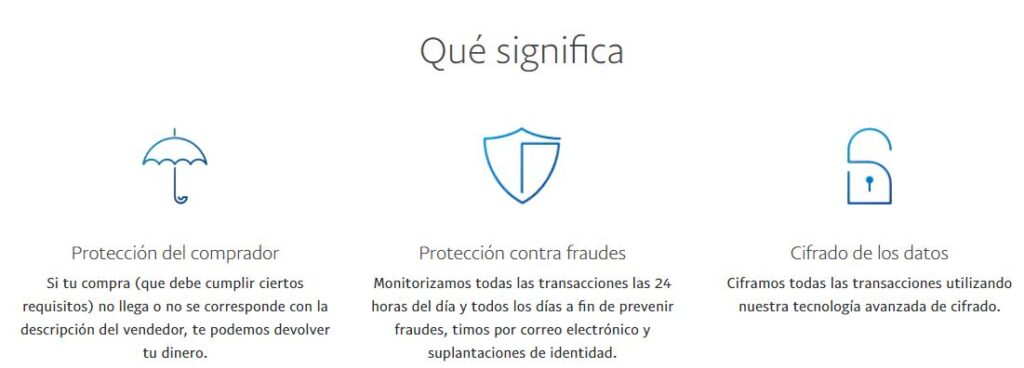 Página web de PayPal en donde explican los pasos que toma la compañía para proteger a sus clientes de estafadores y cibercriminales.