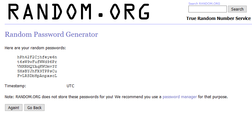 Sitio web que genera contraseñas, el cual muestra cuatro contraseñas seguras generadas por dicho sitio.