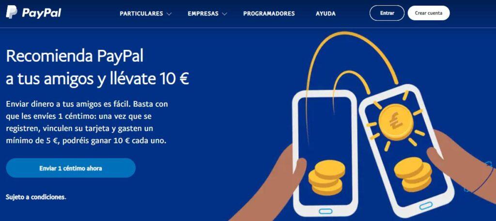 Página de inicio del sitio web de PayPal.