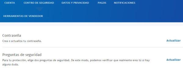 """Página """"Centro de seguridad"""" de PayPal, el cual muestra el apartado """"Preguntas de seguridad"""" y el enlace """"Actualizar""""."""