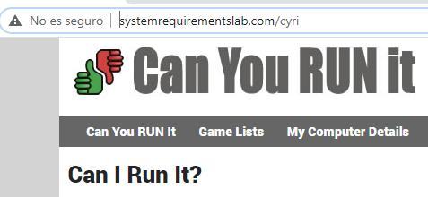 """Página web sin el certificado SSL, el cual muestra una alerta que dice """"No es seguro""""."""