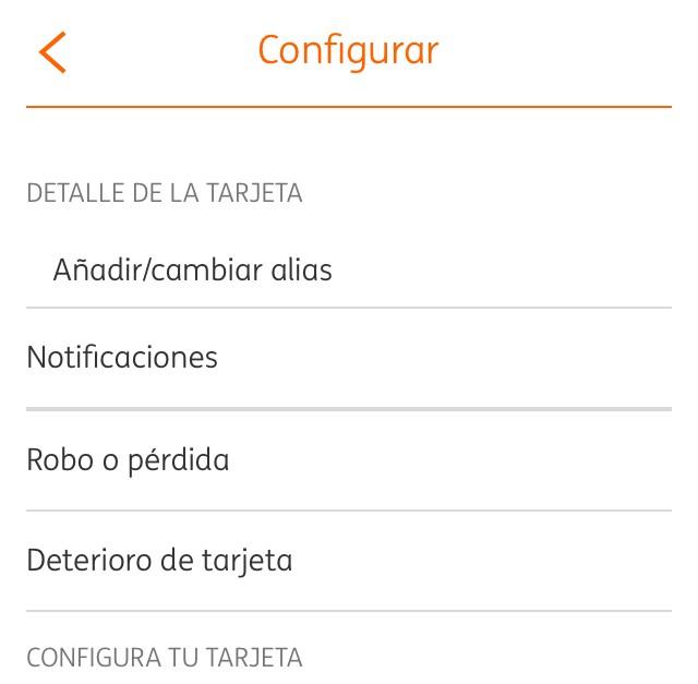 Ventana de configuración de una tarjeta de crédito en la app del banco ING.
