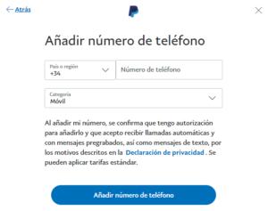 Formulario para introducir un número de teléfono secundario para tu cuenta de PayPal.