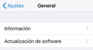 """Opción """"Actualización de software"""" del apartado """"General"""" de la app de Ajustes de un iPhone."""