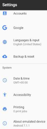 """Opción """"About emulated device"""" de la app de Ajustes de un Android. En un móvil normal, esta opción se llamaría """"About Phone""""."""