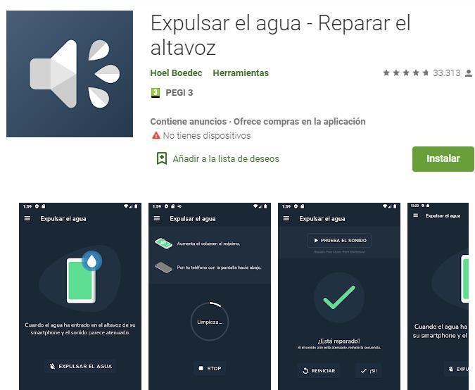 "Página web de la Google Play Store mostrando la app de ""Expulsar el agua""."