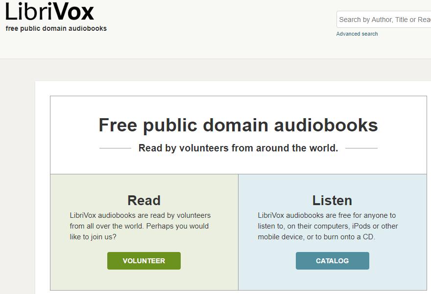 Página de inicio de LibriVox.