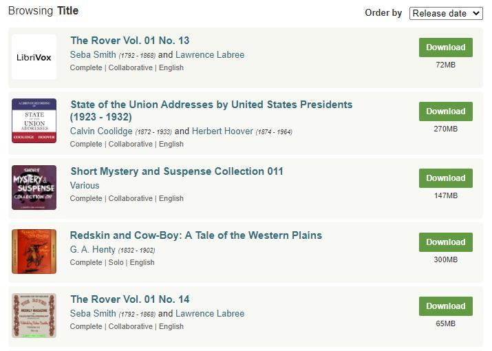Catálogo de audiolibros gratuitos de LibriVox disponibles para descargar.