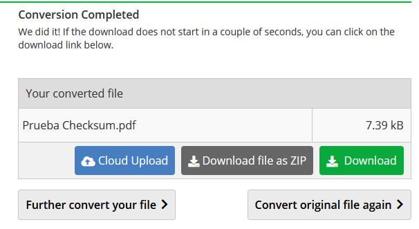 Archivo .txt convertido a PDF en el sitio Online converter mostrando el botón para descargar el archivo convertido.