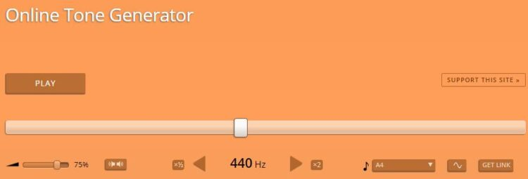Página de inicio de Online Tone Generator.