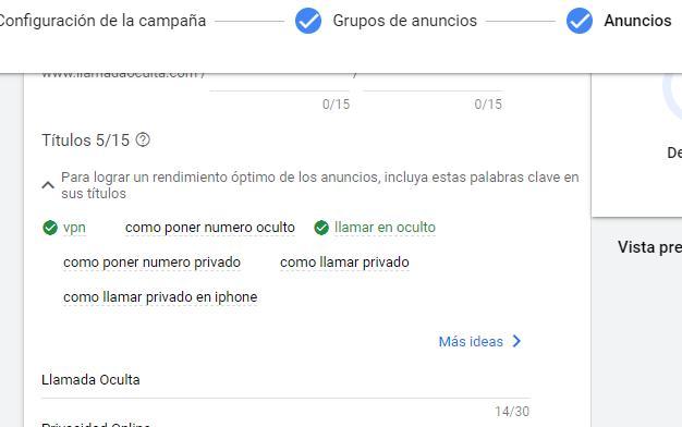 """Página """"Anuncios"""" de una campaña de Google Ads, la cual muestra el apartado """"Títulos"""" y una casilla para agregar un título."""
